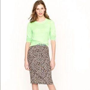 J. Crew Leopard Print Linen No. 2 Pencil Skirt